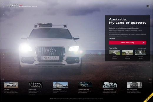 Audi - Australia. Land of quattro FWA Site of the day